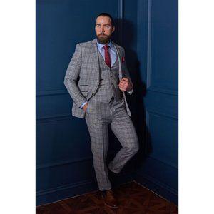 ROBERT SIMON 40 Slim Fit Light Gray Check 3PC Suit